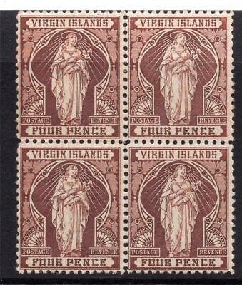 Virgin Islands Block of Four 4 Pence Stamps c1899 Mounted Mint & Unmounted Mint