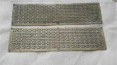 Reclaimed Pair Antique Brass Door Push Plates / Finger Plates