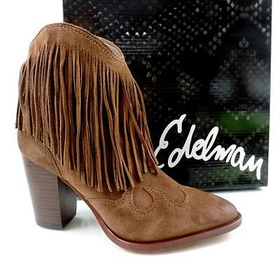 b73b8ba59d7ee3 Women s Shoes Sam Edelman BENJIE Fringe Ankle Boots Booties Suede Brown  Size 7.5