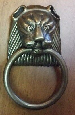 Vintage Large Heavy Brass Lions Head Door Knocker