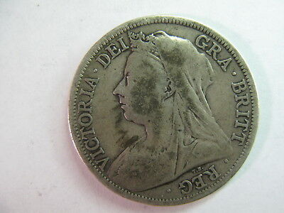 United Kingdom,(Great Britain),circulated Silver 1/2 Crown Date 1901,