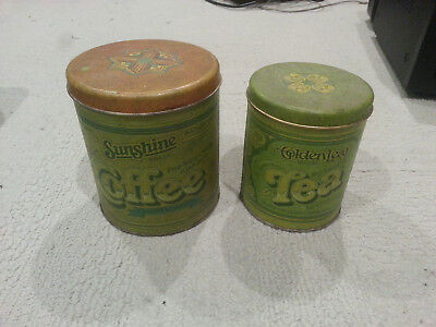 Vintage Sunshine Brand Coffee and Golden Leaf Tea Canisters - Tin Can