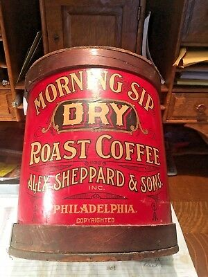 Primitive Kitchen Coffee Advertising Bucket/Drum - Morning Sip - Wooden lid