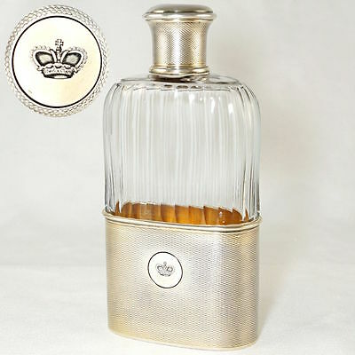 Antique French Sterling Silver Glass Liquor Whiskey Hip Flask Gustave Keller