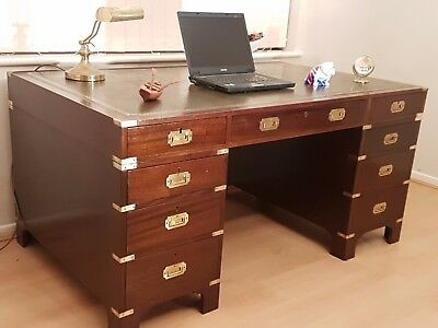 Large Mahogany Military Campaign Style Pedestal Writing Desk Green Leather Top