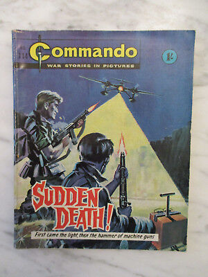 COMMANDO WAR STORIES IN PICTURES COMIC NUMBER 114.1960's SUDDEN DEATH