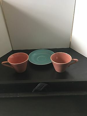 Mixed Color Set of 2 Coffee/Tea Cups and 1 Saucer  - Homer Laughlin Harlequin