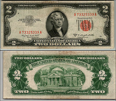 1953B $2 Dollar Bill Old Us Note Legal Tender Paper Money Currency Red Seal Q646