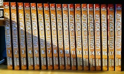 attack on titan manga lot comic collection volume 1-18 used