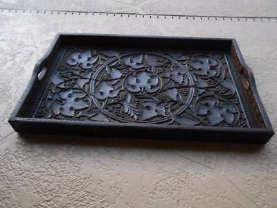 """antique victorian HAND CARVED WOOD TRAY grape leaf scroll handles 24"""" x 15"""""""