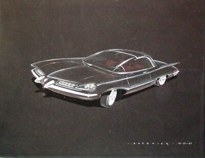 1957 Chrysler Concept Automobile ORIGINAL Styling Art Painting Antonick md25