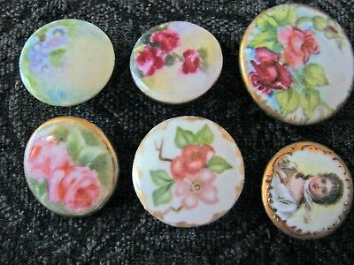 Victorian handpainted buttons portrait of lady flowers shank and stud pink roses