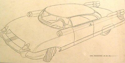 c. 1953 Packard Sports Cpe Automobile ORIGINAL Detroit Styling Art Drawing md253