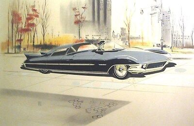 c. 1960 Cadillac Concept Automobile Detroit Styling Art Painting Hill md296