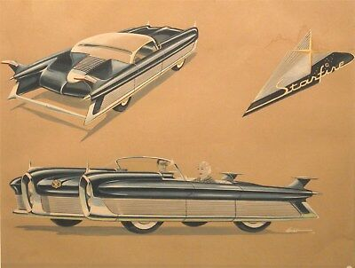 1952 Packard Starfire Concept Auto Detroit Styling Art Painting Arbib md3122