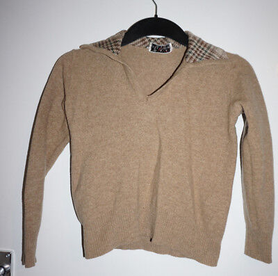 Vintage Women's collar brown jumper Small 1950s style, pin up, Dita retro, swing
