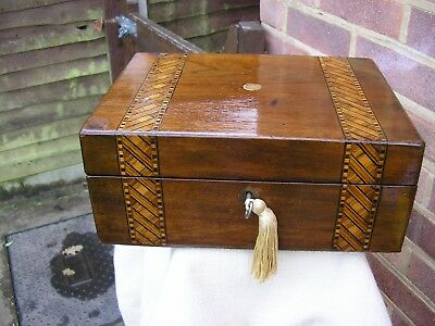 NICE VICTORIAN c 1880 TUNBRIDGE STYLE INLAY WALNUT JEWELLERY BOX VIBRANT COLOURS