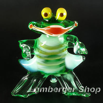 Glass figurine frog made of colored glass. Height 7 cm / 2.8 inch!
