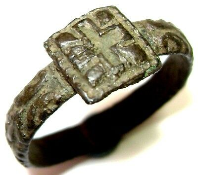 Ancient Сharming decorated bronze Ring with Cross on bezel