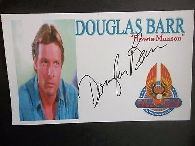 "Douglas Barr ""THE FALL GUY"" ""Howie Munson"" Autographed 3x5 Index Card"