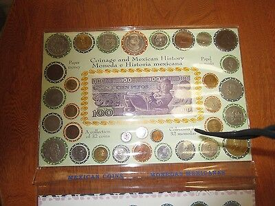 Coinage and Mexican History - Collection of 32 Coins and 1 Paper Money