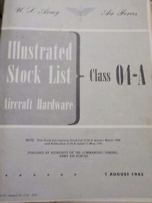 FULL BOOK Illustrated Stock List Class 04-A Aircraft Airplane Hardware Air Force
