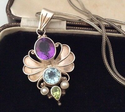 Vintage Jewellery Stunning Sterling Silver Real Pearl & Crystal Pendant & chain