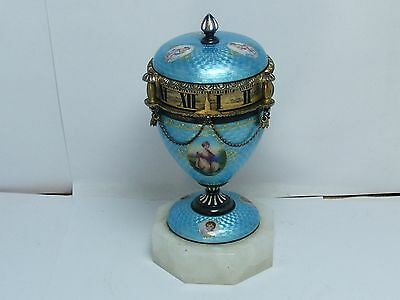 Guilloche Sterling Silver 1870 Swiss Miniature Annular Dial Clock Urn Egg