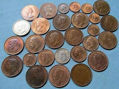 Lot of 28 Great Britain Old Coins King Edward VII-Queen Elizabeth II Nice Grades