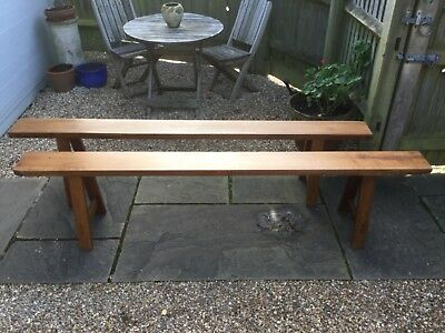 Pair of Antique 19th Century long Mahogany Trestle Style Benches