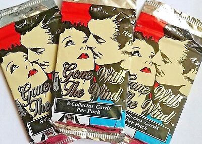 Lot of 3 Gone with the Wind Trading Card 8 Pack Clark Gable Stocking Stuffer New
