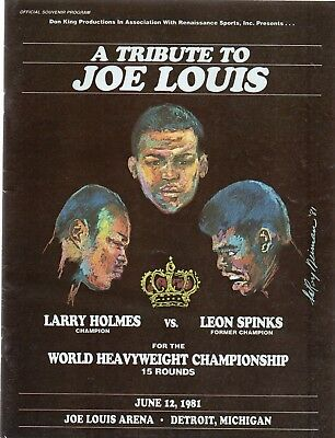 RARE WORLD TITLE PROGRAMME: LARRY HOLMES-LEON SPINKS, free post in UK