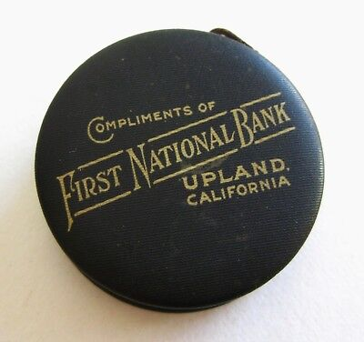 Antique First National Bank Upland CA Celluloid Promo Advertising Tape Measure
