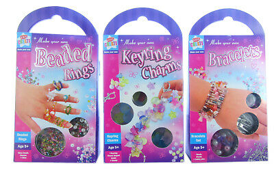 2 X packs of girls BRACELETS /KEYCHAINS /RINGS making sets ASSORTED  age 5 plus