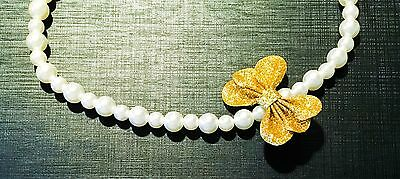 NEW Christmas Holiday Toddler Jewelry Necklace Faux Pearl Golden Ribbon Cherokee