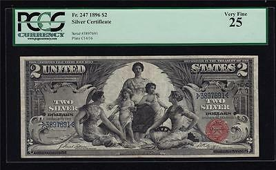 Fr 247 1896 $2 Educational Note PCGS 25 Very Fine