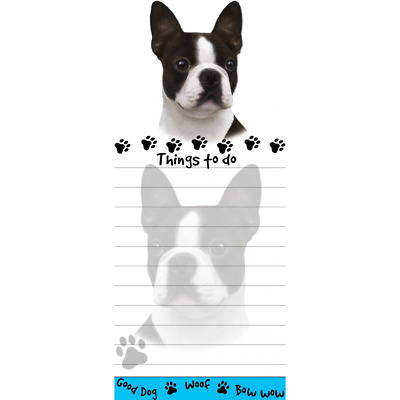 BOSTON TERRIER DOG DIECUT LIST PAD NOTES NOTEPAD Magnetic Magnet Refrigerator