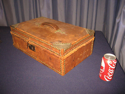 Antique Civil War Era Document Box Wood Brass Studs Orig Leather Early-mid 1800s