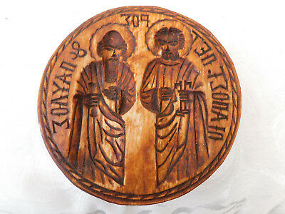 Vintage Russia Russian ? Religious Scene Butter bread Biscuit Pat Wood Mould