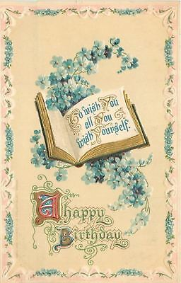 Birthday Book Of Wishes~Blue Forget-Me-Nots~Gold~Embossed~PS Dresden~Ser 4981