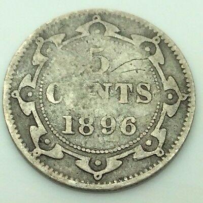 1896 Newfoundland Canada Five 5 Cents Silver Canadian Coin C625