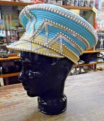 VTG Shellie McDowell NY Couture Turquoise Golg Bead Sequin Cap Hat Hip Hop