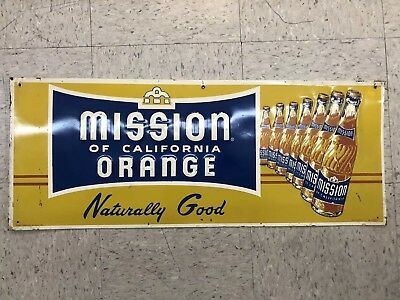 MISSION  ORANGE SODA VINTAGE ORIGINAL ADVERTISING SIGN Soda pop gas oil