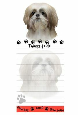 SHIH TZU TAN DOG DIECUT LIST PAD NOTES NOTEPAD Magnetic Magnet Refrigerator