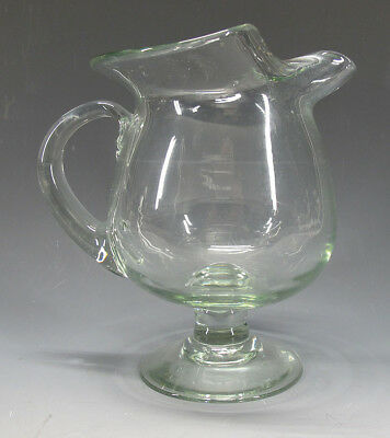 Vintage South New Jersey Inspired Aqua Glass Hand Blown Pinch Spout Pitcher yqz