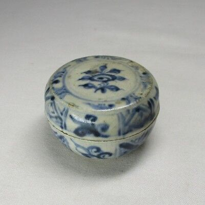 D774: Real old Southeast Asian porcelain covered case GOSU of AN-NAN