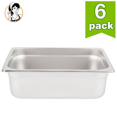 "6 Packs 1/2 Size Commercial Stainless Steel Food Pans Steam Table Pan 4"" Deep"