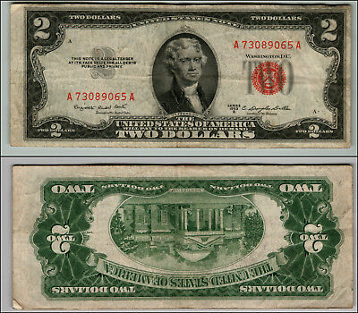 1953B $2 Dollar Bill Old Us Note Legal Tender Paper Money Currency Red Seal P79