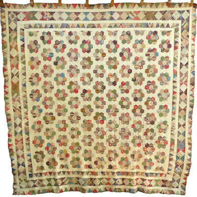 PHENOMENAL museum find XXL Fabric Lover's early 1800s antique HEXAGONS quilt TOP