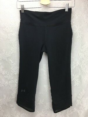 Under Armour womens athletic leggings compression black crop knee-length size S